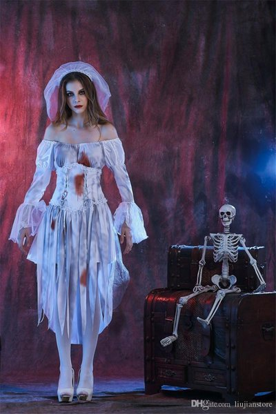 Disfraz de novia fantasma Vestido de fiesta de Halloween con cinta impresa digital de manga larga blanco uniformes Cosplay
