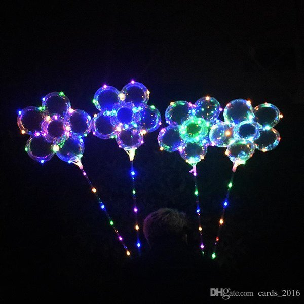 Luminous LED Balloon with 70cm Stick Plum Blossom Flower Shape Transparent 3m String Rainbow Lights Holiday Wedding Party Supply Decoration