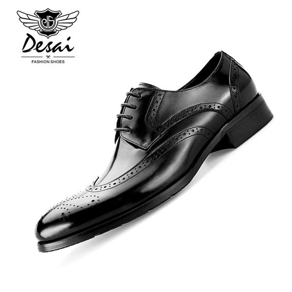 Desai Herren echtes Leder Schuhe Rindsleder Vintage Bullock geschnitzt England Stil Schuhe Herren Casual Leder EURO Größe 37-45
