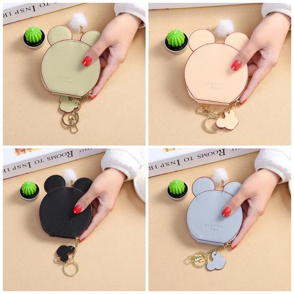 Estudiante femenino monedero del ratón del oído del monedero redondo mini llavero bolsa encantadora púrpura negro conveniente 8 5qm C1