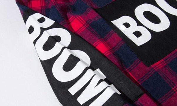 Color Block Patchwork Plaid manga comprida sup Camisetas masculinas Hip Hop Kanye West Botão bolso Casual Up Shirts Coats Streetwear