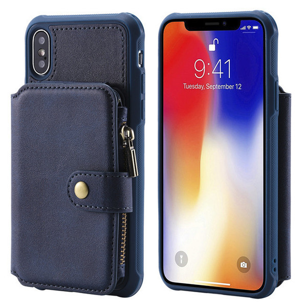 2018 Stylish Universal Multi Function Zipper Removable Wallet PU Leather Phone Case For iphone xs x 8 8plus 7 7plus 6 6plus
