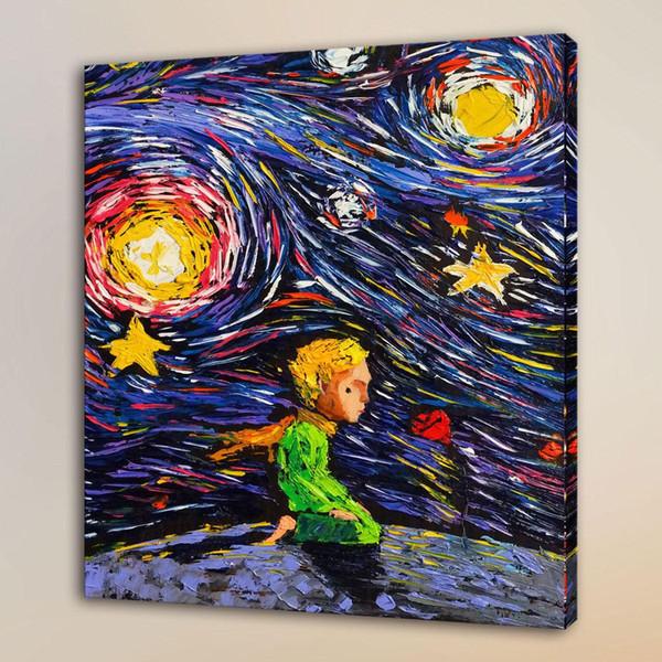 Живой маленький принц Ван Гога, HD Печать на холсте, домашний декор, художественная роспись / без рамы