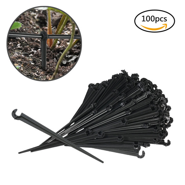 100pcs Plastic Hook Fixed Stems Support Holder Drip Irrigation Water Hose Drop for Watering Garden Flower