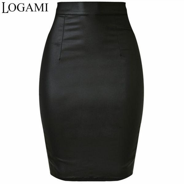 Logami Women Faux Leather Skirt Pencil High Waist Skirts Womens Skirt Black Midi Saia Couro Jupe Simili Cuir Y19043002