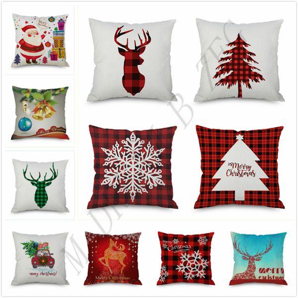 202 diseños caja de la almohadilla de Santa Claus árbol de Navidad muñeco de nieve Elk funda de almohada almohada cubierta colorida Inicio Sofá de coches Decoración 45 * 45 cm funda de almohada