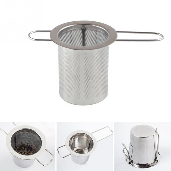 Silver color Reusable Stainless Steel Tea Strainer Filter Basket Mesh Tea Infuser Filter Herbal Ball Tea tools new sui0153
