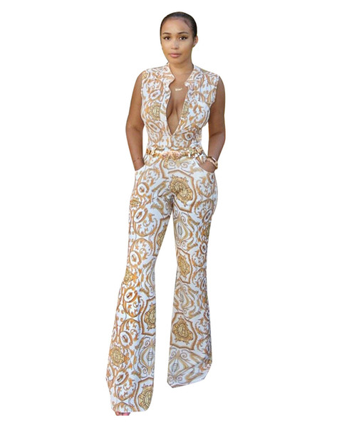 New Arrival Women Jumpsuits Summer Gold Printed Deep V Neck Rompers One Piece Suits Sleeveless Lady Clothing