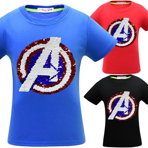 3 couleurs Avengers 4 Endgame T-shirts pour enfants Paillettes garçons Coton T-shirt manches courtes double Vêtements sequin Accueil Vêtements CA11672-1 12pcs