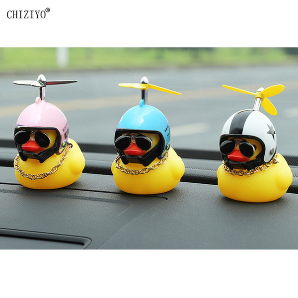 Cheap Ornaments Cute Little Yellow Duck With Helmet Propeller Rubber Windbreaker Duck Squeeze Sound Internal Car Decoration Child Kid Toy
