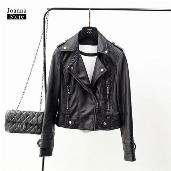 Suni deri ceket kadın artı boyutu 3Xl siyah pembe artı kadife sahte ceketler biker ceket vintage zarif palto fermuar güz ceket