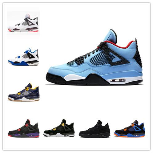 2019 New Arrival Bred Pale Citron Tattoo 4 IV 4s men Basketball Shoes Pizzeria jack Travis Scott blue mens trainers HOUSTON OILERS Sneakers