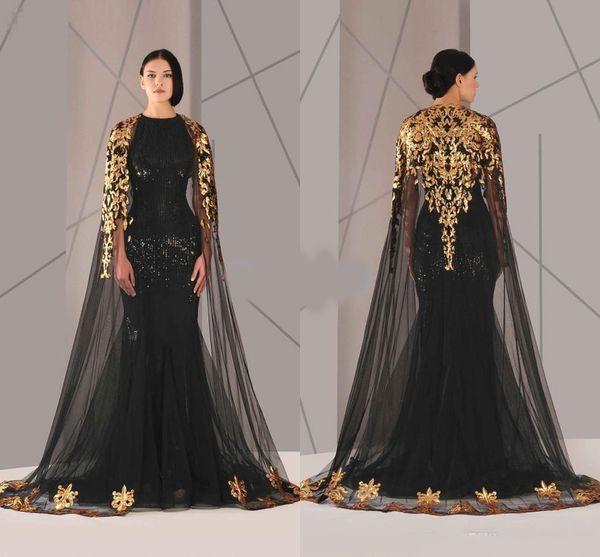 Preto Árabe Muçulmano Vestidos de Noite Tulle Manto Ouro e Preto Lantejoulas Tripulação Pescoço 2016 Plus Size Sereia Formal Wear Longo Pageant Prom Vestido
