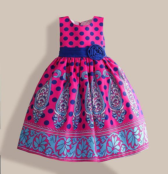 Amazing Summer Dress Blue Dot Floral Print Girl Party Dress Silk Belt Children Clothing For 5-10y Vestidos Infantis J190618