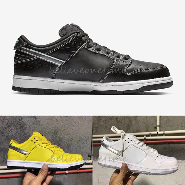 Dunk SB Düşük Pro OG QS Elmas Kaynağı Co Kanarya sarı Siyah Beyaz Erkek Kadın Koşu Ayakkabıları Ne Dunk Paris Spor Tasarımcısı Sneakers