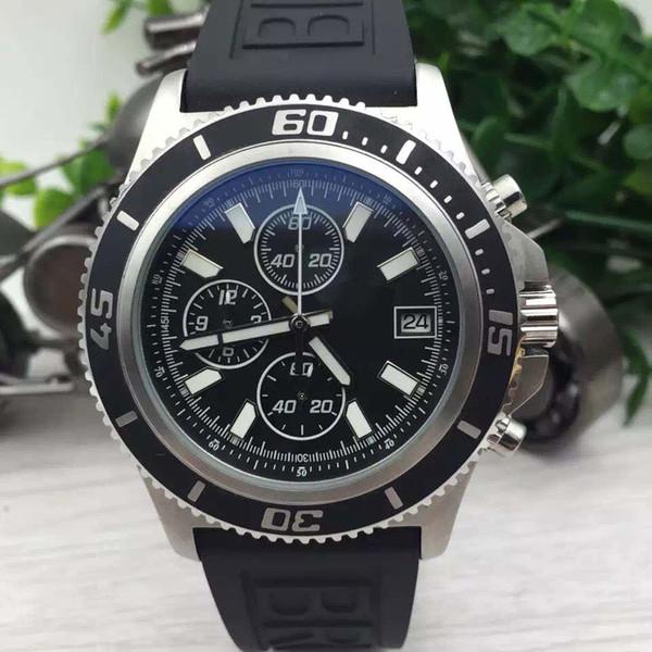Top Fashion New Rose Gold Negro Bisel One Click Unico Sang Bleu Girar Dial Reloj de cuarzo suizo para hombre Relojes deportivos de cuero negro Hbt01B