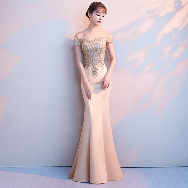 Благородное золото сексуальная женщина длинные Русалка платья элегантный с плеча вечернее платье выпускного вечера платья партии Vestido де феста S-XXL