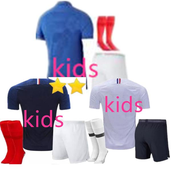 2 Estrelas Crianças GRIEZMANN MBAPPE POGBA camisas de futebol 2019 copa do mundo MATUIDI KANTE futebol GIROUD Maillot de camisas de pé