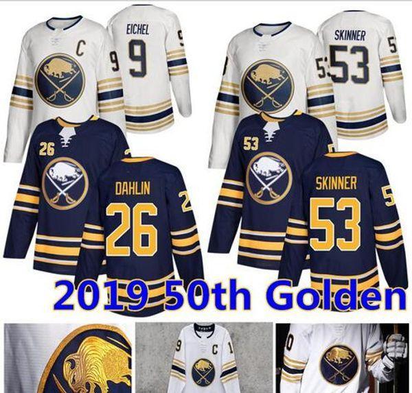 2019 New Buffalo Sabres 50.o Jersey 9 Jack Eichel 53 Jeff Skinner 26 Rasmus Dahlin los jerseys del hockey