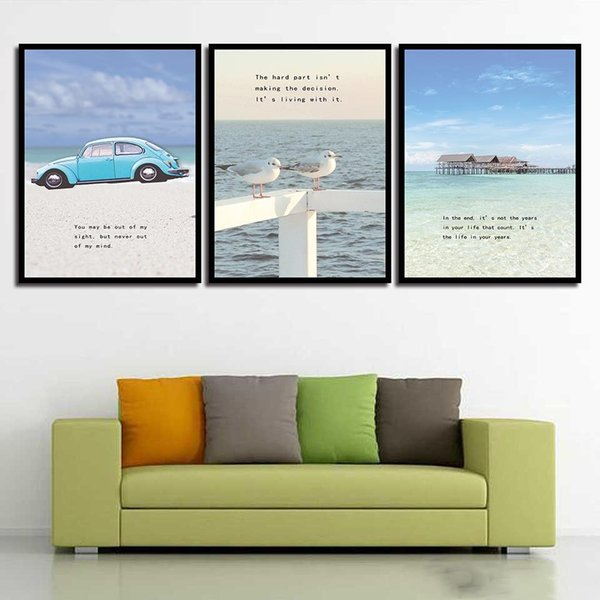 Minimalist Poster Wall HD Print Pictures Sea Ocean Blue Car Landscape Nordic Style Canvas Painting Art For Home Decor Wedding