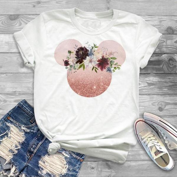 Kawaii Femmes T-Shirt Oreille Chemises Fille Femme Tumblr Camisas Mujer Hipster T Shirt Femmes Mignon Tee Shirt Femme