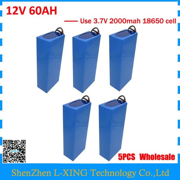 Venta al por mayor 5pcs / lot 12V 60AH batería 12 V 60AH 60000MAH Batería de iones de litio 30A BMS para 12V 3S Batería 5A Cargador UE EE.UU. no hay impuestos