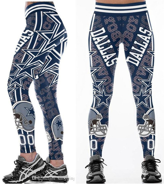 best selling New wholesale Hot Multi-Color Women Legging Dallas Cowboys printed high waist wide belt running fitness tights yoga pants S-4XL