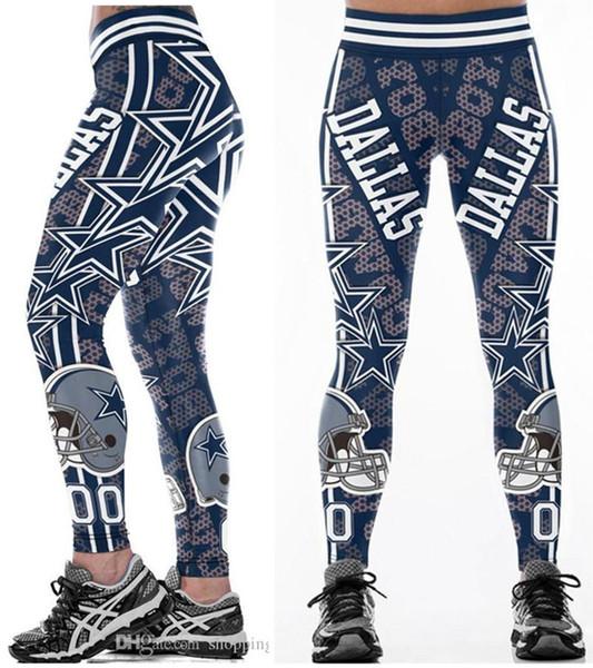 Yeni toptan Sıcak Çok Renkli Kadınlar Legging Dallas Cowboys baskılı yüksek bel geniş kemer koşu spor tayt yoga pantolon S-4XL