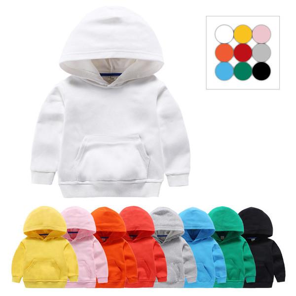 Moda niños sudaderas deportivas color puro niñas pequeñas niños sudaderas con capucha primavera algodón blanco tops para bebés niños