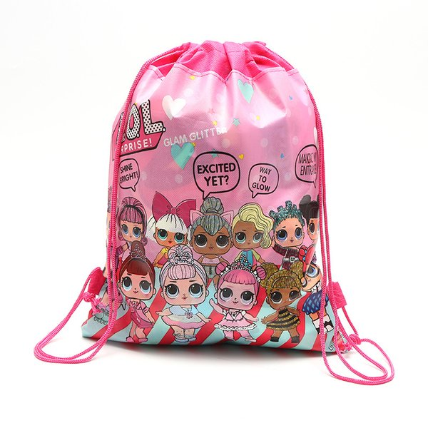 Cartoon storage bags Birthday Party Favor for Girls doll Christmas Gift Bag drawstring pocket backpack kid toys package Swimming beach bag
