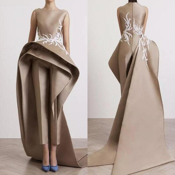 Saudi Arabic Evening Dresses With Pants Peplum Appliques Satin Sheath Prom Dress Long Zipper Back Custom Made Celebrity Cocktail Dress