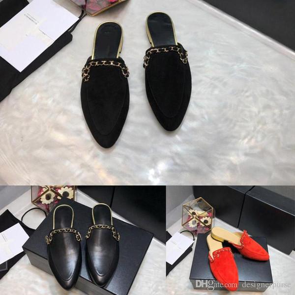 Mocasines de cuero de lujo de alta calidad Zapatillas de diseñador Muller Zapatos para hombre Cadena Moda Hombres Mujeres Zapatillas de Princetown Señoras Mulas ocasionales Pisos