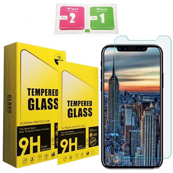 Gehärtetes glas für iphone xr xs max displayschutzfolie für samsung j7 prime lg aristo iphone 8 x film 2.5d 9 h anti-splitter papier paket