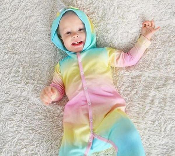 Ücretsiz Kargo AutumnWinter Hayvan Karikatür unicorn Bebek Tulum Yenidoğan Pamuk Uzun Kollu Kapşonlu çocuk Tulumlar onesie