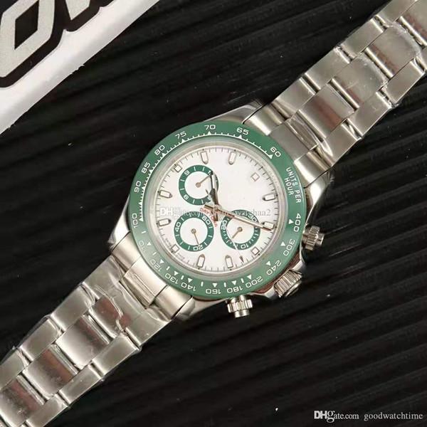 Nouveau haute qualité saphir de luxe Mens montres jour Mécanique automatique montre Céramique bague En Acier Inoxydable montre-bracelet Cadeau Original sac cadeau