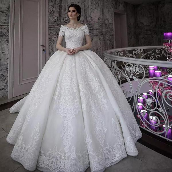 Vintage Lace Ball Gown Wedding Dresses Short Sleeves Off Shoulder Bridal  Gowns Appliqued Princess Plus Size Dress Vestido De Novia Custom  Alternative ...
