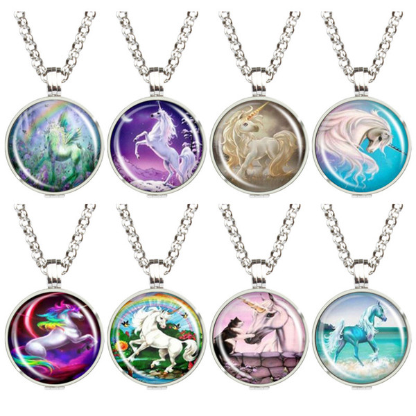 Stainless Steel Side Hollow Unicorn Jewelry Essential Oil Pendant Box Diffuser Photo Frame