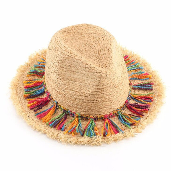 Fashion Bohemian Ethnic Beach Hats Ladies Tassel Rope Large Brim Sun Hat Floppy Raffia Straw Hats Women Sombrero Summer