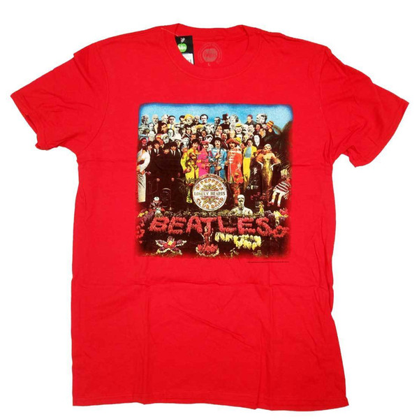 La camiseta de los Beatles - Sgt. Pimienta cubierta camisa roja 100% oficial de Lennon McCartney hombres mujeres Unisex moda camiseta envío gratis