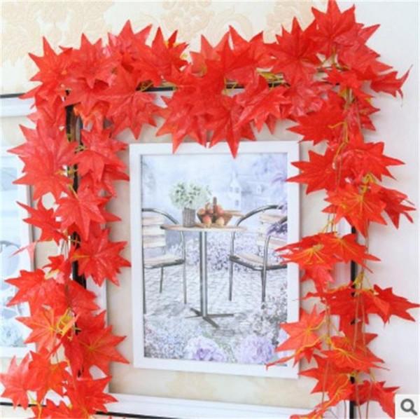 Décoratif Fleur Rouge Maple Leaf Couronnes Pur Travail À La Main Mur Tenture En Plastique Fleurs Ivy Plantes Conduit Plafond Suspendu Floriculture 3 1 1cl