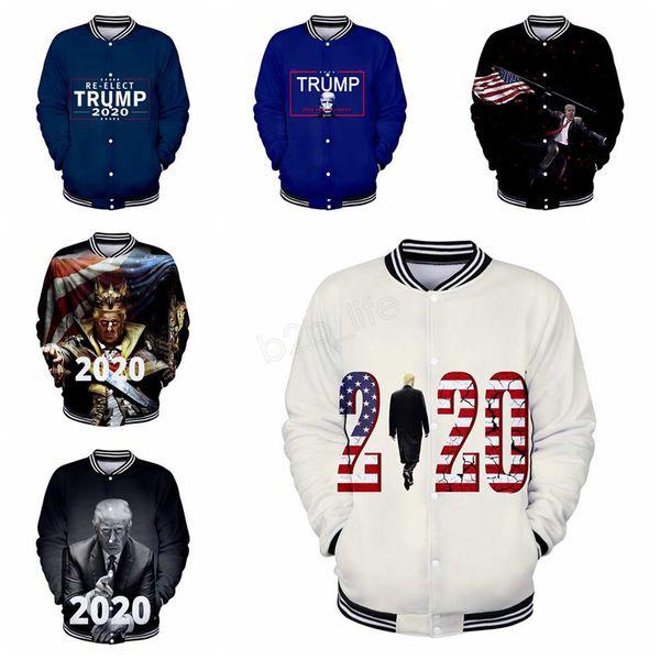 Donald Trump 2020 Chaqueta de béisbol hombres mujeres impresión 3D Otoño Invierno Uniforme de béisbol Ropa Hombre Mujer abrigo outwear sudadera LJJA2798