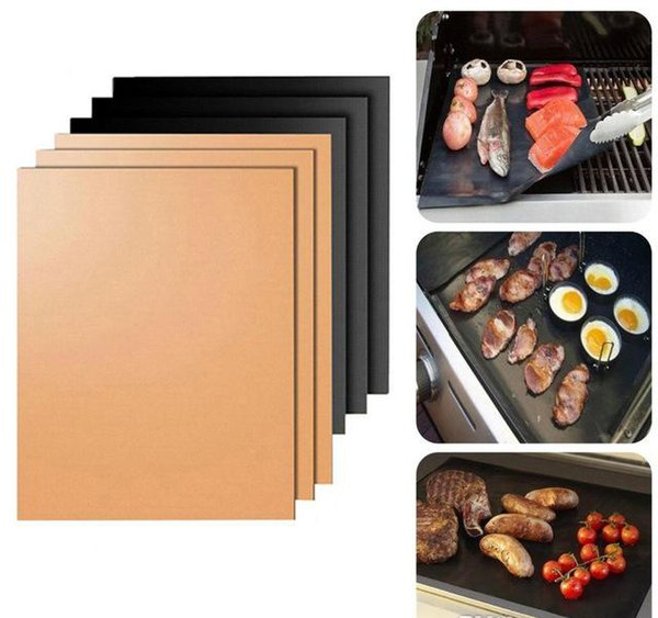 Non-Stick PTFE 33*40CM/50*40cm Black/Copper BBQ Gas Grill Barbecue Mat Reusable Cover Microwave Mats for Cooking Baking