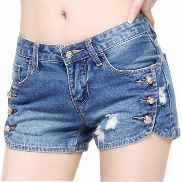 Woman'sexy Hole Denim Shorts Ladies'casual Mid Ripped Short Jeans Feminino Brandsummer Spring Plus Size 26-32 Beach Denim Shorts T4190617