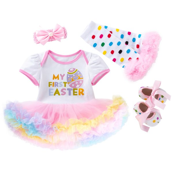 DHL 2019 Baby infant Easter clothes Outfits My first Easter Tutu skirt Bodysuit +shoes+leg warmer+ Headband 4pcs/set Hotsale 2019