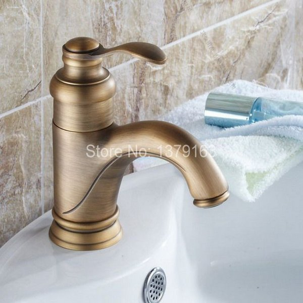 Antique Brass Single Lever Handle Bathroom Vessel Sink Basin Faucet Mixer Taps anf051
