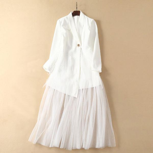 Moda Beyaz Siyah Elbiseler A-Line Kadınlar 2019 Sheer Mesh Patchwork Çentikli Yaka Düğme Uzun Kollu Bohemian Uzun Elbise