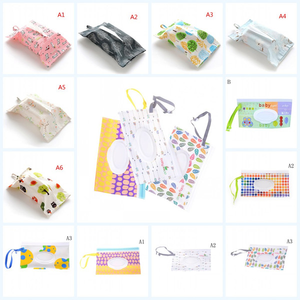 top popular 2019 New Baby Kids Wipe Clutch Carrying Bag Wet Wipes Dispenser Snap-strap Bag Pouch Outdoor Travel Wet Paper Towel Container 2020