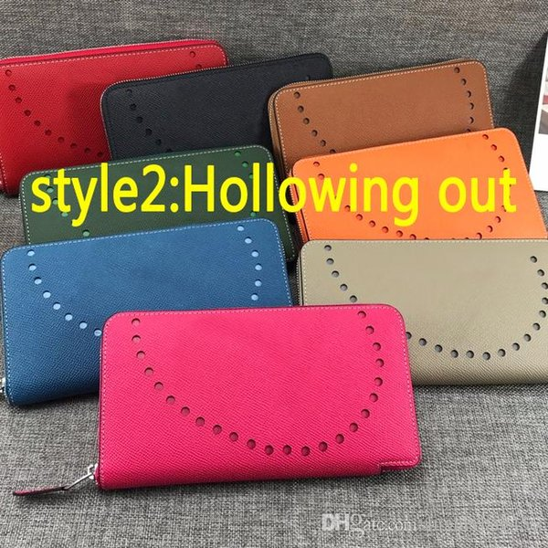 Top Designer Women Long Clutch Wallet Palm texture Real leather Large Capacity Wallets Female Purse Lady Purses Phone Pocket