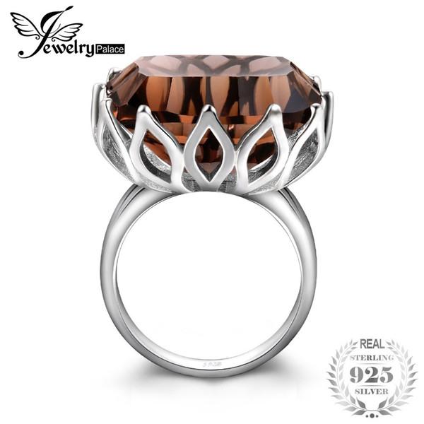 Jewelrypalace Enorme Único Côncavo 20ct Genuine Natural Smoky Anel De Quartzo 925 Sterling Silver Jewelry Acessórios Do Partido De Luxo J190612