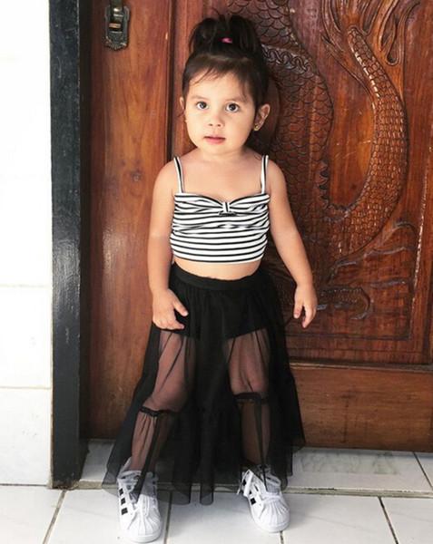 2019 New Kids Clothes Moda Baby Girl Suspender Preto Branco Tarja Colheita Tops Tule Saia Longa 2 pcs Roupas Crianças roupas
